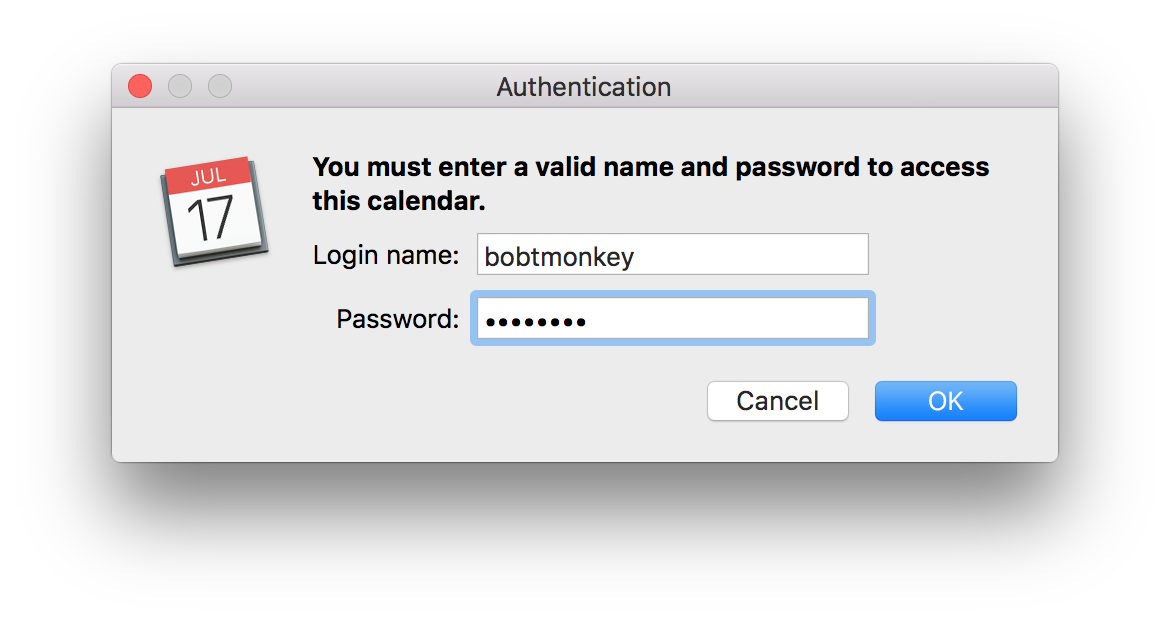 iCal authentication