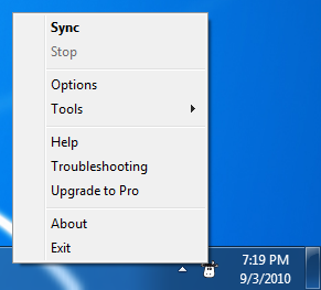Windows System Tray menu